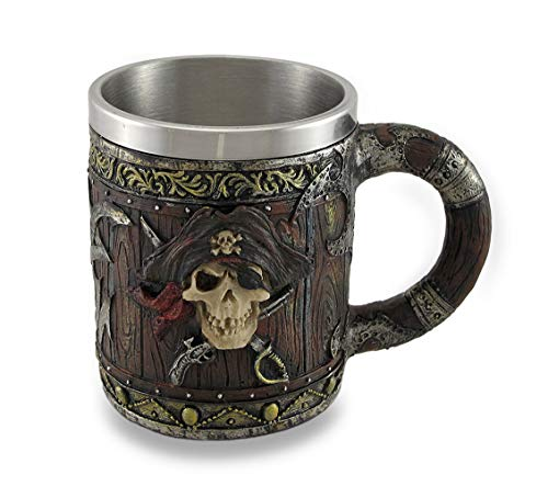 Wood Look Pirate Skull Drinking Tankard Gothic Coffee Cup Mug by Things2Die4