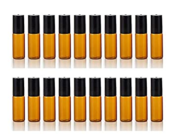 ELFENSTALL- 20PCS 5ml Amber Glass Roller Bottles Roll On Bottle Container with Metal Ball for Essential Oil Aromatherapy Perfumes and Lip Balms - 3ML Dropper Included