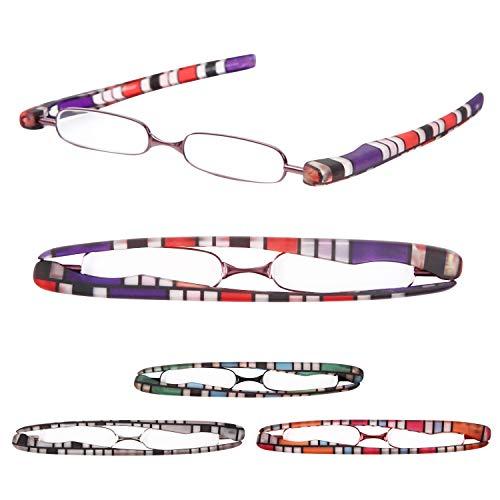 老眼鏡 携帯用 プレミアムカラー 超軽量 おしゃれなリーディンググラス[Pod Reader]ユニセックス 眼鏡ケース不要[PrePiar] (+2.0, パープル)