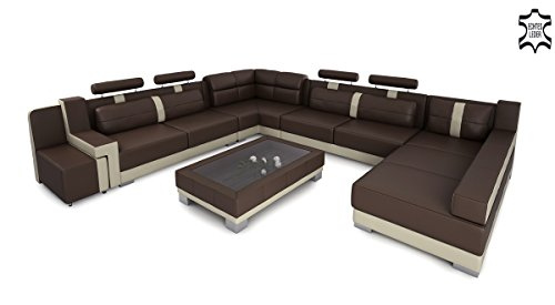 Bullhoff by Giovanni Capellini XXL Wohnlandschaft Leder Big Sofa Couch Ecksofa Ledersofa Ledercouch U-Form Designsofa KÖLN
