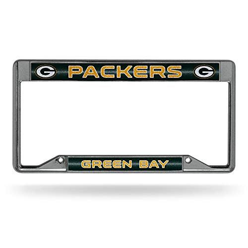 NFL Rico Industries Bling Chrome License Plate Frame with Glitter Accent, Green Bay Packers - Inverted
