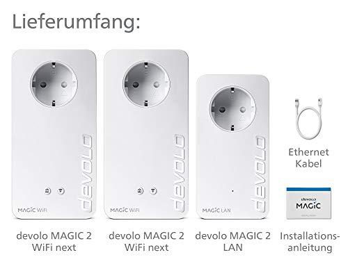 devolo Magic 2 – 2400 WiFi ac next Multiroom Kit: Stabilstes Set mit 3 Powerline-Adaptern für raumübergreifendes Mesh-WLAN, ideal für Streaming (2400 Mbit/s, 4x Gigabit LAN-Anschlüsse)
