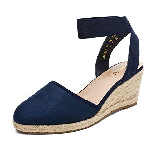 DREAM PAIRS Women's Navy Closed Toe Elastic Ankle Strap Espadrilles Wedge Sandals Size 8 M US Amanda-1