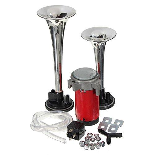 Forspero Chrome Loud 12V Twin Trompette Corne d'air compresseur Set Kit Bateau de Voiture
