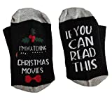 MOXHH Watching Movie Socks Christmas Letters Printed Women Winter Warm Socks Gifts (Black, One Size)