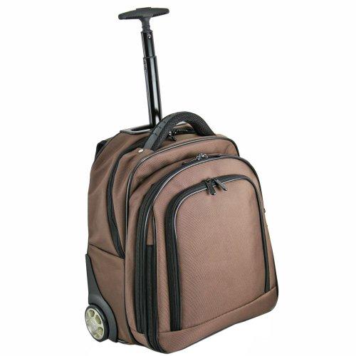 Dermata Sac à dos à roulettes et compartiment pour ordinateur portable 38 cm Marron Marron