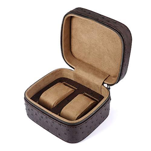 LELADY Kleine Uhrenbox für Männer, Kleine Uhrenbox für Frauen, Kleine PU-Leder-Reiseuhr-Aufbewahrungsboxen, Uhrenorganisator-Uhrenhalter für 2 Uhren, Platz (Braun)