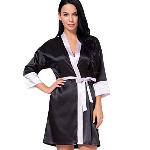 Dasongff dames ochtendjas Kimono kort, patchwork contrast nachtkleding badjas Robe Kimono negliggee zijden robe Locker pyjama Sleepwear V-hals met riem Small zwart