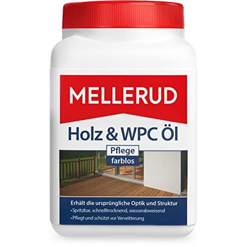 Mellerud Holz & WPC Öl Pflege farblos – Wasserabweisender Schutz vor Verwitterung von Holz, WPC und BPC im Innen- und Außenbereich – 1 x 0,75 l