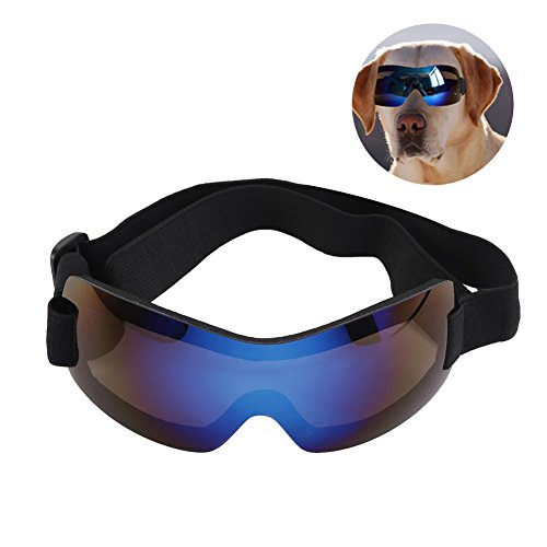 Hundesonnenbrille Hundebrillen Sonnenschutz Brillen Wasserdichte UV Sonnenbrillen Schutzbrille für Haustier Hunde(Blau)