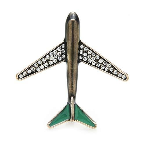 CLEARNICE Vintage Esmalte Avión Broches Cristal Clásico Avión Broche Pines Estaño Aleación Metal Insignia De Año Nuevo Joyería Regalo