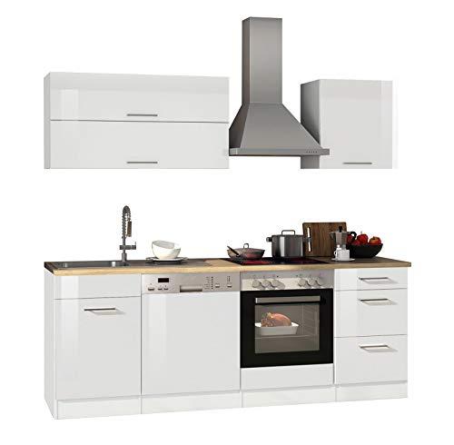 lifestyle4living Küche mit Elektrogeräten 220cm | Küchenzeile Küchenblock Einbauküche E-Geräte | Hochglanz Weiß/Eiche Sonoma