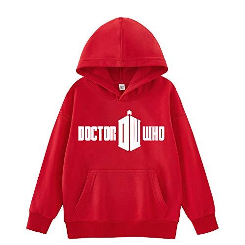 Doctor Who Pullover Bequeme Hoodies Thinner Outwear Schöne Sweatshirt modischer Entwurf Pullover Weinlese-Lange Hülsen-Mäntel for Jungen und Mädchen Junge und Mädchen (Color : Red01, Size : 120)