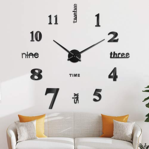 SOLEDI Reloj de Pared 3D, DIY Reloj de Etiqueta de Pared Decoración Ideal para la Casa Oficina...