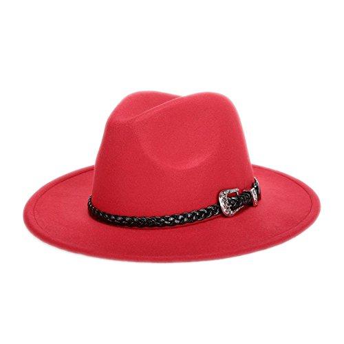 Demarkt Jazz Hut Schlapphut Filzhut Mode Hut mit breiter Krempe schönes Zubehör für Damen im Winter Rot