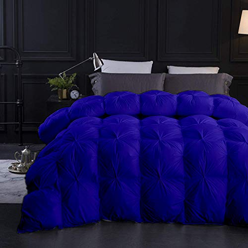 Royal Blue All Season Down Alternative Pintuck Comforter- California King Size 102 x 96 Inches 1 pc Pinch Pleated Comforter 600 GSM & 4 - Corner Tabs 100% Egyptian Cotton- Hotel Royal Blue Solid