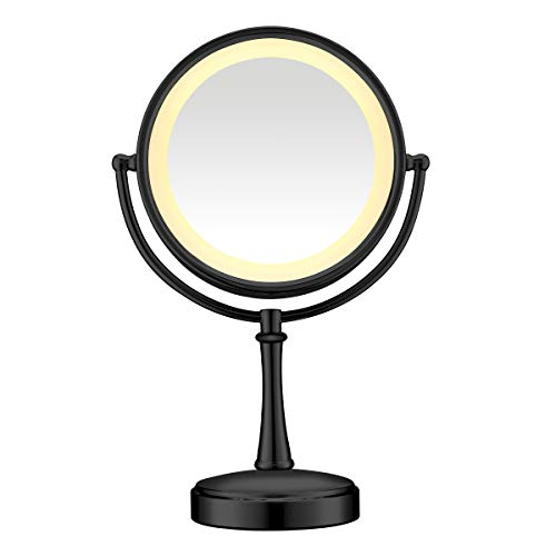 Conair Reflections Double-sided Incandescent Lighted Vanity Makeup Mirror, 1x/7x magnification, Matte Black finish