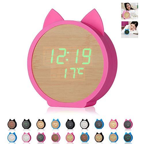NANANA Cartoon Kinder Elektronischer Wecker mit Holz, Katze Kleiner Wecker Kreative, Sprachsteuerungsfunktion, 11,8 × 3,9X13,3 cm,#13