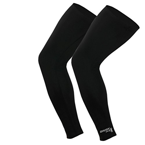 Brisk Cycling Leg Warmer Thermal Knee Running Compression Black (Large/X-Large)