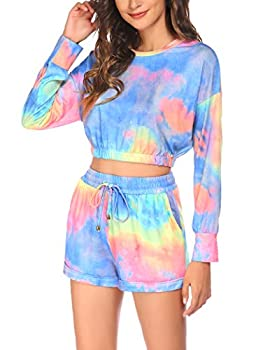 Beyove Sweatsuit for Women 2 Piece Jogger Tie Dye Long Sleeve Pullover Crop with Shorts Soft Plus Size Outfits XL