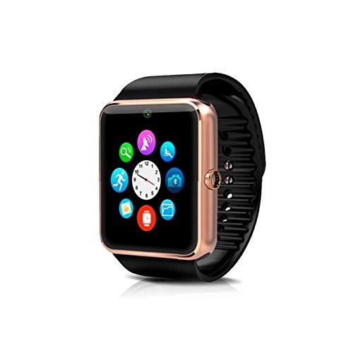 KawKaw GT08 Smartwatch mit Edelstahlgehäuse und 1,54 Zoll Farbbildschirm mit Touch-Funktion – Integrierte 1,3 MP Kamera bei federleichten 62 Gramm - Mit Fitnesstracker & SIM-Kartenslot (Gold)