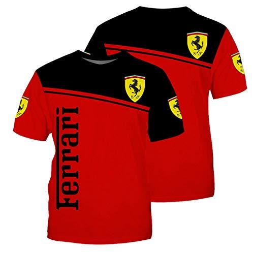 Camiseta De Hombre con Estampado Digital F.e.r.r.a.r.i Logo Cuello Redondo Camiseta De Manga Corta (3,S)