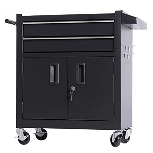 YGWE Tool Cabinets Silent Pulley Tool Box Multifunctional Auto Repair Tool Trolley Tattoo Workbench Tool Chest (Color : Black, Size : 62x33x74cm)