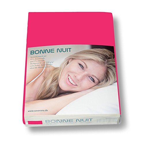 Savorana Bonne Nuit Elastan Spannbetttuch Baumwolle Stretch 220 g/m²- Steghöhe bis 40 cm Bettlaken für Boxspringbetten Wasserbetten - Größe 100x200-120x220 cm pink