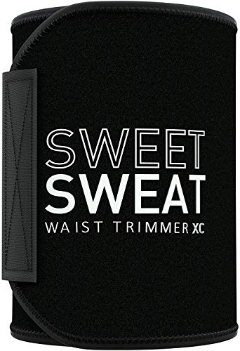Sweet Sweat Waist Trimmer  Xtra-Coverage  Belt | Premium Waist Trainer with more Torso Coverage for a Better Sweat! Black