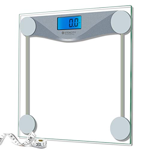 Etekcity Digital Bathroom Body Weight Scale, Precision Smart Step-on technology, Tempered Glass, Backlit Display (Batteries Included)