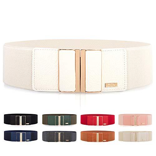Cintura larga elastica, da donna, per vestiti, lucida, con fibbia in metallo, diversi colori disponibili bianco Taglia unica