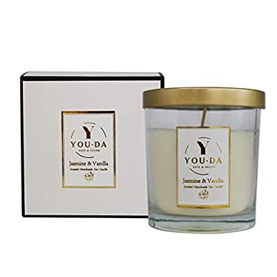 Sweet Scented Candle Gift Natural Soy Wax, 60 Hours Burn Fine Home Fragrance, Glass Jar Candles (Jasmine and Vanilla) from Jeneric
