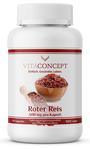 Fermentierter Roter Reis 600mg | 120 Kapseln | VEGAN | Roter Reis Extrakt 3:1 HOCHDOSIERT mit Monacolin K 4,5 mg pro Kapsel | laborgeprüft | Monascus purpureus | VITACONCEPT