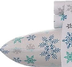 Eddie Bauer Tossed Snowflake Flannel Sheet Set, Queen
