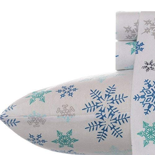 Eddie Bauer Tossed Snowflake Flannel Sheet Set, Queen