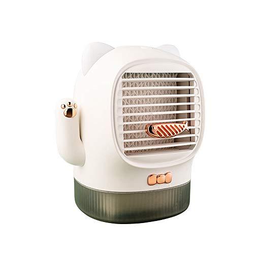 Ventilador humidificador de aire con forma de gato feliz, portátil, 3 en 1, mini aire acondicionado portátil, con puerto USB, con depósito de agua