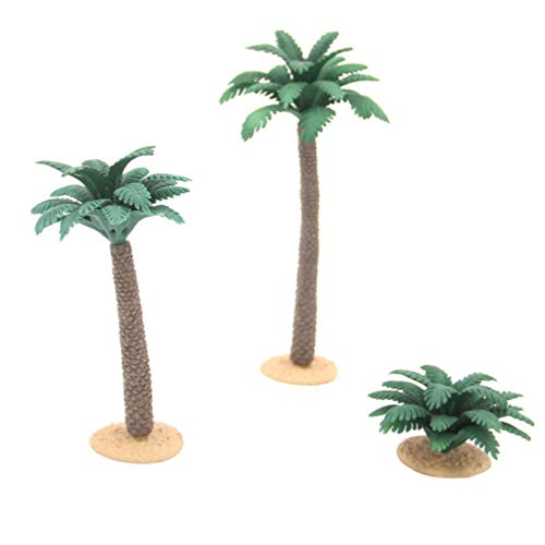 Yardwe 3pcs Mini Palm Tree Plant Artificial Plastic Tree Model Miniature Figurine Toy for DIY Railroad Scenery Micro Landscape Plant Pot Fairy Garden