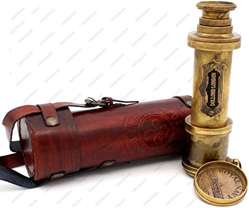 Pirate Brass Telescope, Spyglass Collapsible Monocular Decorative Telescope with Glass Optics for Kids Travel, Hiking, Hunting, Navigation with High Resolution, with Lid and Finish by Commando Antique