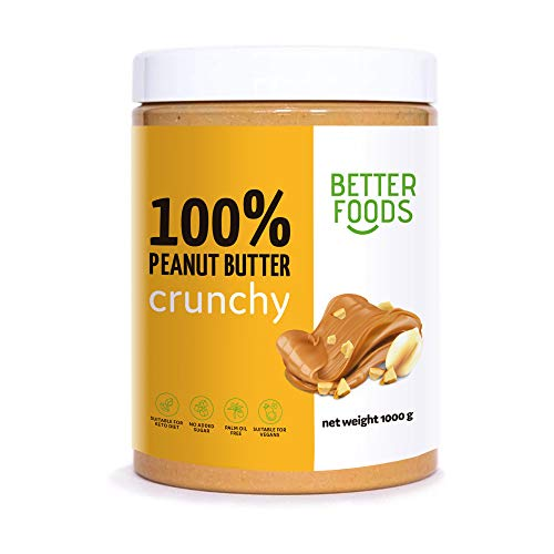 Better Foods Peanut Butter   100% Natural Roasted Argentinian Peanuts   No Added Sugar   Suitable for vegan & vegetarian, perfect for keto snacks   1 Kg (Crunchy)