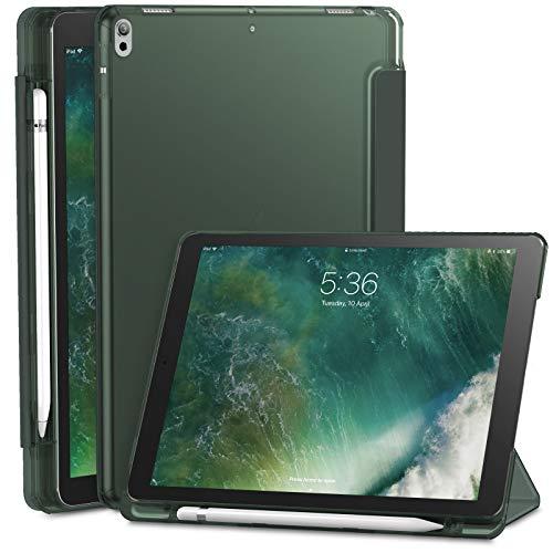 INFILAND iPad Air (3. Generation) 10,5 Zoll 2019 / iPad Pro 10,5 Hülle mit eingebautem Apple Pencil Halter, Superdünne Superleicht Schutzhülle mit Transparenter Rückseite Abdeckung, Dunkelgrün