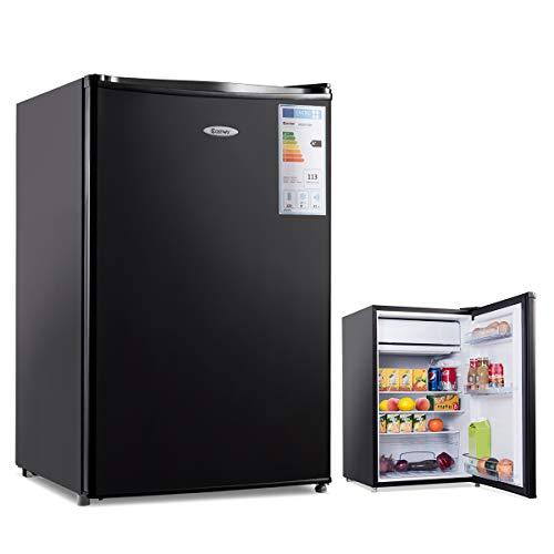 COSTWAY Kühlschrank mit Gefrierfach Minikühlschrank Standkühlschrank Kühl-Gefrier-Kombination Hotelkühlschrank / A+/ 123L