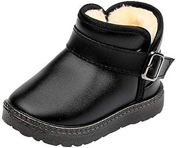 Geilisungren Botas Unisex de Nieve de Niñas Niños de Algodón Zapatos de Bebé Invierno Botines Niña Acogedor Botines Infantiles Simple Suela de Goma Primeros Pasos Zapatos Estudiante