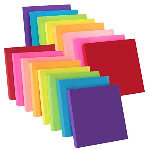 ZCZN 8 Bright Color Sticky Notes, 3 x 3 in, 16 Pads/Pack, 100 Sheets/Pad, Self-Stick Notes