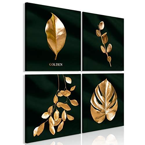 decomonkey Bilder Goldene Blätter 40x40 cm 4 Teilig Leinwandbilder Bild auf Leinwand Vlies Wandbild Kunstdruck Wanddeko Wand Wohnzimmer Wanddekoration Deko Gold Pflanzen Schwarz