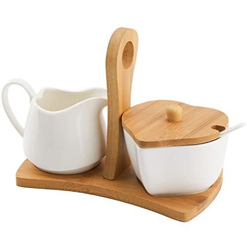COAWG Milch und Zuckerdose Sets, Mit Deckel & Löffel - Keramik Sahnekännchen Zuckerdose - Kaffeeservice Set Hochzeitsgeschenk - 9 OZ(260ML) (Sugar and Milk)