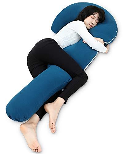 抱き枕 だきまくら 妊婦 マタニティ 男女兼用 腰枕 妊娠中 授乳用 多機能 ふわふわ 気持ちいい 横向き寝 快眠グッズ ジャージーカバー 洗える J型 流線型 等身大 160cm ネイビー Genki life