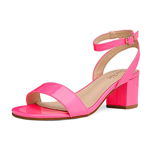 DREAM PAIRS Women's Neon Pink Pu Open Toe Ankle Strap Low...