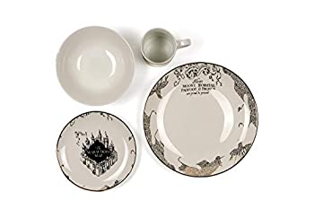 Harry Potter Marauder s Map Porcelain 4 Piece Place Setting - Includes 1 Dinner Plate 1 Salad Plate 1 Bowl and 1 Mug - Gold Marauders Map Design