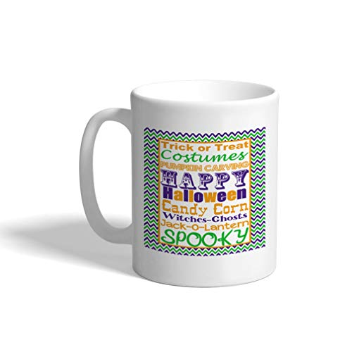 Ceramic Coffee Mug 11 Ounces Trick Or Treat Costumes Pumpkin Carving Happy Halloween White Tea Cup Design Only
