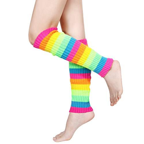 80's Women Knit Leg Warmers Crochet Ribbed Leg Socks for Party Accessories (Multicolor)